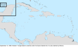 Map of the change to the United States in the Caribbean Sea on September 13, 1880