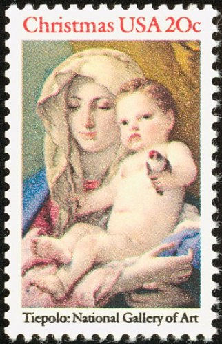 United States Christmas stamp 1982 Madonna of the Goldfinch, Giovanni Battista Tiepolo c. 1760