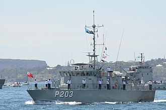 His Majesty's Armed Forces (Tonga) - The Tongan patrol boat VOEA Savea (P203) in Sydney Harbour, 2013.