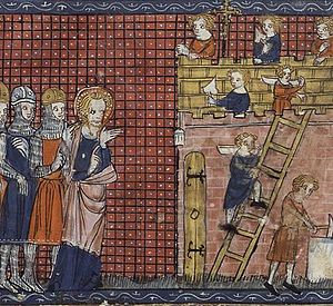 Saint Valentine - Saint Valentine of Terni oversees the construction of his basilica at Terni, from a 14th-century French manuscript (BN, Mss fr. 185)