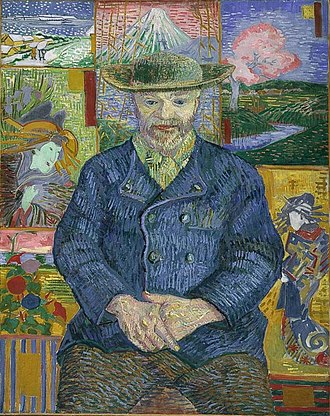 Japonism - Portrait of Père Tanguy by Vincent van Gogh, an example of Ukiyo-e influence in Western art (1887)
