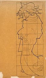 an old looking squared up tracing of a Japanese woman
