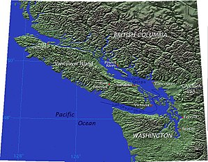 Vancouver Island is separated from mainland Br...