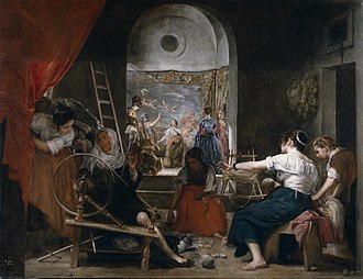 Las Hilanderas (Velázquez) - The painting as previously displayed before additions not by Velásquez were masked from view