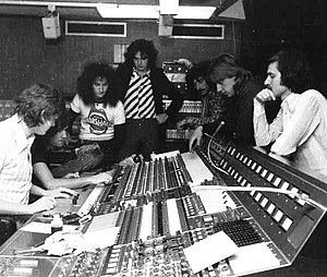 Bijelo Dugme - Bijelo Dugme and collaborators in London's AIR Studios on Oxford Street in November 1975 during the recording of Šta bi dao da si na mom mjestu; from left to right: sound engineer Peter Henderson, producer Neil Harrison, Ipe Ivandić, Goran Bregović, Željko Bebek, Vlado Pravdić, and Jugoton executive Veljko Despot.