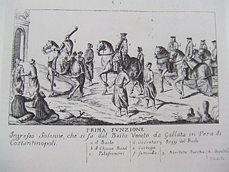 Bailo of Constantinople - Engraving showing the entrance of a new Venetian bailo into Constantinople, c. 1700