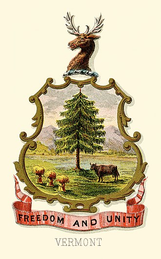 Coat of arms of Vermont - Vermont state historical coat of arms (illustrated, 1876)