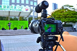 Nikon 1-mount - Nikon 1 V1 with Nikkor VR 10-100mm f/4.5-5.6 PD-Zoom and ME-1 stereo microphone in HD-video use