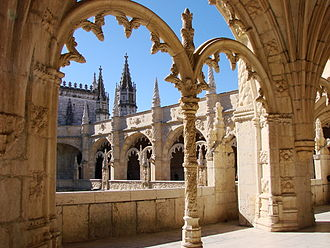 Manueline - Manueline ornamentation in the cloisters of Jerónimos Monastery, Belem, Portugal