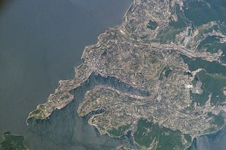 Zolotoy Rog - View of Vladivostok and Zolotoy Rog Bay from space.