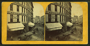 Dock Square (Boston) - Image: View of unidentified street with commercial buildings, trolley tracks, and buggies, from Robert N. Dennis collection of stereoscopic views