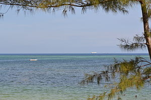 View out to sea on Nyali Beach during high tide from the Reef Hotel, Mombasa, Kenya.jpg