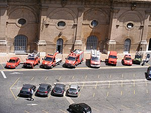 Corps of Firefighters of the Vatican City State - Most of the Vatican fire appliances on display (only the aerial platform is absent).
