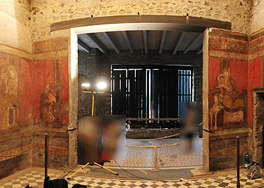 Villa of the Mysteries (Pompeii) - Hall of the Mysteries (West wall).jpg