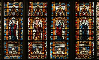 Medieval stained glass - Detail of a medieval window at Troyes Cathedral, France (14th century)