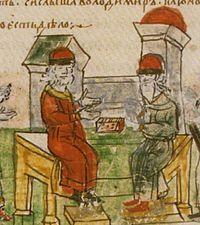 Ο Βλαδίμηρος συζητά με φιλόσοφους από το Βυζάντιο για το Χριστιανισμό, εικονογράφηση του Ρατσιβίλ