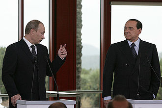 Foreign relations of Russia - Vladimir Putin with former Italian Prime Minister Silvio Berlusconi, 2008.