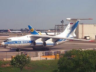 Volga-Dnepr Airlines - A Volga-Dnepr Ilyushin IL-76TD-90VD cargo transporter at John F. Kennedy International Airport in New York City.