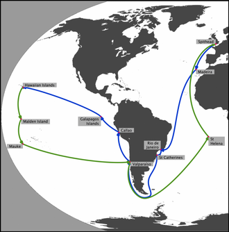 HMS Blonde (1819) - Map of the Voyage of the Blonde, showing the main places visited. (The lines between these places are purely schematic and do not represent the actual route.) The journey out to Hawaii is shown in blue, the return in green.