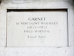 Wolseley, garnet, 1st viscount (1833 1913) field marshal, lived in this house