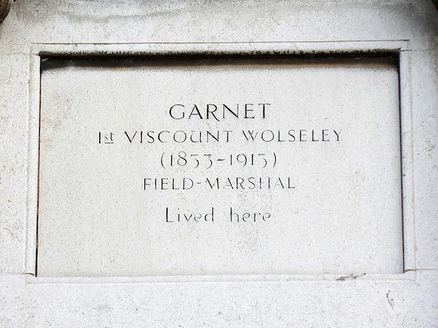 Garnet Wolseley stone plaque - Garnet Wolseley 1st Viscount Wolseley (1833-1913) Field-Marshal lived here