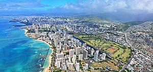 Aerial view of Waikiki