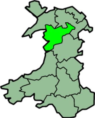 Edeirnion - A map of Wales with Merionethshire highlighted.  Edeirnion Rural District is the protrusion in the north east of Meirionnydd.