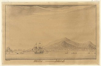 Wallis and Futuna - Drawing of Wallis Island by captain Samuel Wallis in 1767