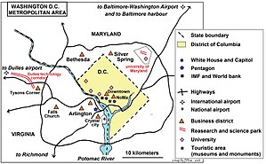 Washington metropolitan area - Washington, D.C. metropolitan area map