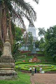 Stupas in front of Wat Phnom.