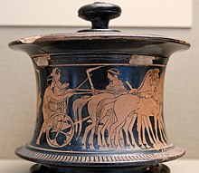 Photograph of a Greek pot, decorated in the red-figure style and showing a woman in a chariot pulled by a team of horses