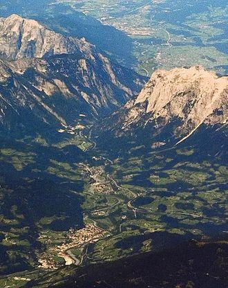 Werfen - Aerial view of the Salzach valley