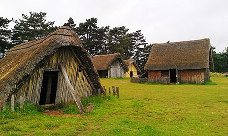 Panorama of the reconstructed 7th century village West Stow Anglo-Saxon village 2.jpg