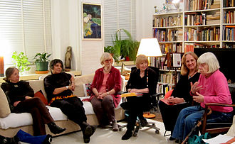 Westbeth Playwrights Feminist Collective - Westbeth Playwrights Feminist Collective at videtoped interview in 2011. From left to right, Marjorie Melnick, Christina Maile, Gwen Gunn, Dolores Walker, Nancy Rhodes, and Helen Duberstein. Photo by Lauren Maile.