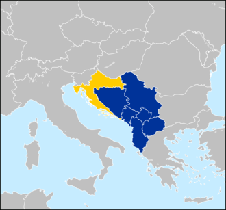 Western Balkan countries - Albania, Bosnia and Herzegovina, Croatia, Montenegro, North Macedonia and Serbia. The partially recognized Kosovo is also demarcated. Croatia (yellow) joined the EU in 2013. Western Balkans.PNG