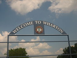 Wharton entrance sign