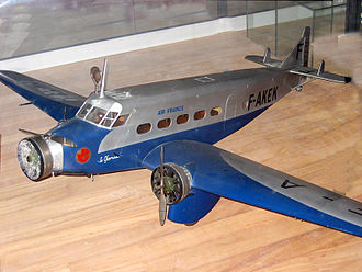 1934 Air France Wibault 282T crash - A scale model of a Wibault 283T-12