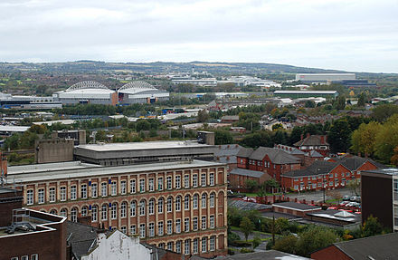 Aerial view of Wigan town centre Wigan skyline 2008.jpg