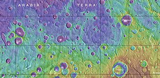 Henry (Martian crater) - MOLA map, showing Henry crater and other nearby craters.  Colors indicate elevations.
