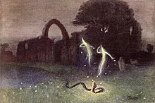 Will-o-the-wisp and snake by Hermann Hendrich 1823.jpg