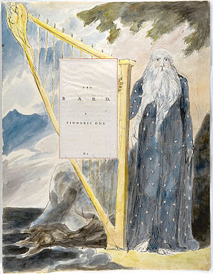 The Bard (poem) - Title-page of The Bard illustrated by William Blake