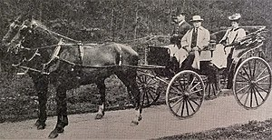 William Morton (theatre manager) - William Morton and his daughter arriving in Hull with his own carriage and pair, 1895