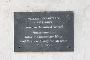 William Oughtred - Plaque in the Old St Peter and St Paul's Church, Albury
