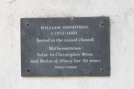 Plaque in the Old St Peter and St Paul's Church, Albury William Oughtred plaque.jpg