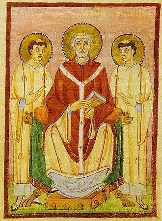 Saint Willibrord, Anglo-Saxon missionary from Northumberland, Apostle to the Frisians, first bishop of Utrecht. Willibrord e.jpg