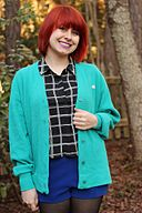 Windowpane Print Top with a Teal Vintage Cardigan (16525592859)