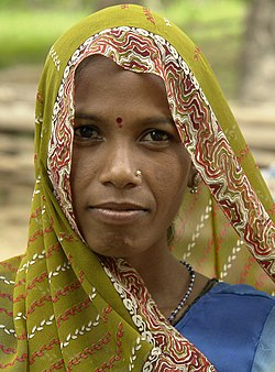 Woman in adivasi village, Umaria district, India.jpg