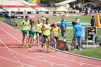 2013 IPC Athletics World Championships -  Colombia's Maritza Arango Buitrago (0331) leads Ireland's Amanda Crotty (0587) in the semi-final of the T12 1500m.