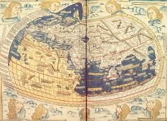 Aunque no queda ninguna carta sobre la obra de Ptolomeo, en el Renacimiento se copiaron de la Mapa Mundi como lo vea Ptolomeo en c.150. Esta carta fue copiada por Johannes de Armsshein, Ulm, en 1482.