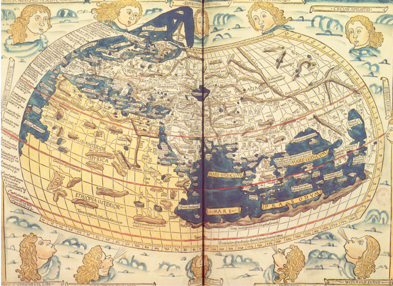 Archivo:World of Ptolemy as shown by Johannes de Armsshein - Ulm 1482.png